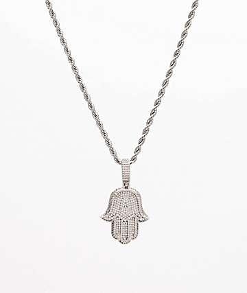 "The Gold Gods Hamsa Hand Micro Diamond 22"" White Gold Necklace"