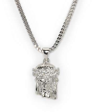 The Gold Gods Jesus White Gold Necklace
