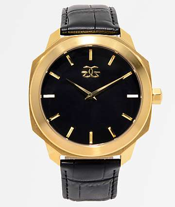 The Gold Gods Julius Black Leather & Gold Analog Watch