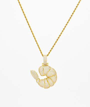 The Gold Gods Large Diamond Shrimp Pendant Chain
