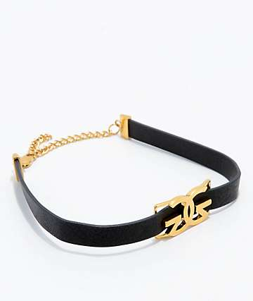 The Gold Gods Logo Leather Choker