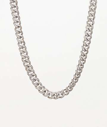 "The Gold Gods Micro Cuban Diamond 18"" Silver Chain Necklace"
