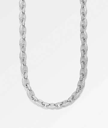 "The Gold Gods Puff Link White Gold 18"" Necklace"