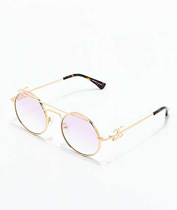 The Gold Gods The Luminaries Gold & Pink Gradient Sunglasses