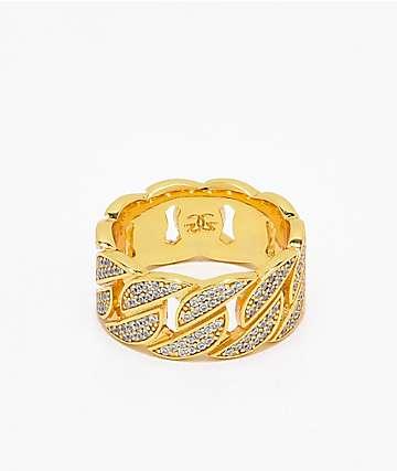 The Gold Gods anillo cubano con diamantes