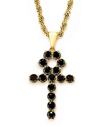 """The Gold Gods collar 22"""" con colgante Ankh de ónix negro"""