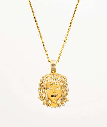 "The Gold Gods x Lil Pump Iced Face 22"" Yellow Gold Necklace"