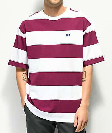 The Hundreds Bay Eggplant & White Stripe T-Shirt
