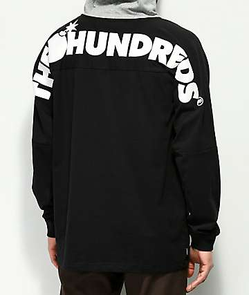 The Hundreds Beach camiseta con capucha negra y gris
