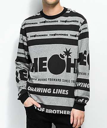 The Hundreds Brandly Black & Grey Long Sleeve T-Shirt