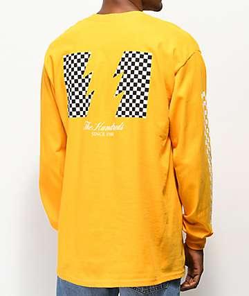 The Hundreds Checkered Flag Yellow Long Sleeve T-Shirt