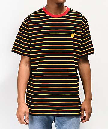 The Hundreds Ditch Black, Red & Yellow Striped T-Shirt