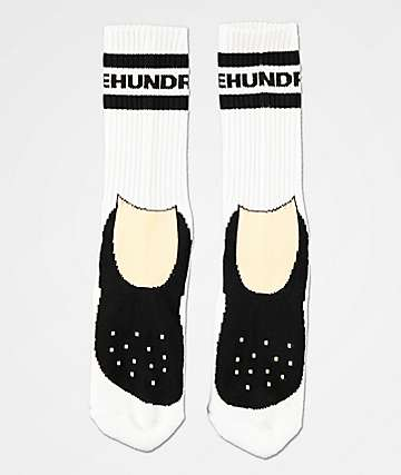 The Hundreds Footy White Crew Socks