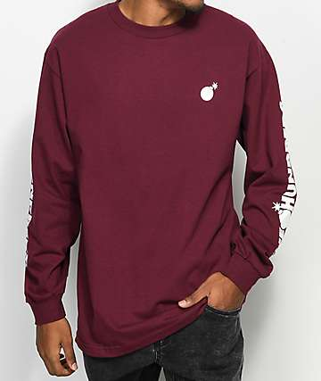 The Hundreds Forever Burgundy Long Sleeve T-Shirt
