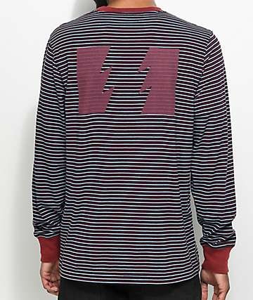 The Hundreds Garvey Navy and Red Striped Long Sleeve T-Shirt