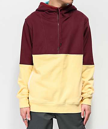The Hundreds Lewis Burgundy and Khaki Hoodie