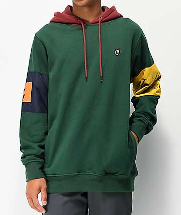 fb1ec0707f94 The Hundreds Milla sudadera con capucha verde y borgoña
