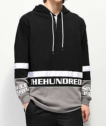 The Hundreds Moncado Black, Grey & White Hooded Long Sleeve T-Shirt