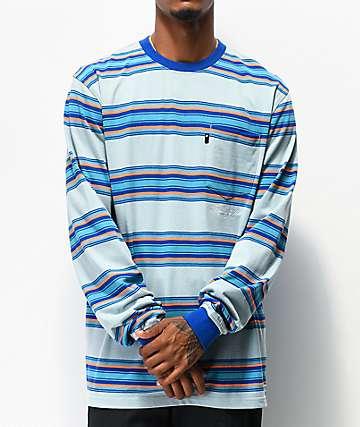 The Hundreds Norton Blue & Orange Stripe Knit Long Sleeve T-Shirt