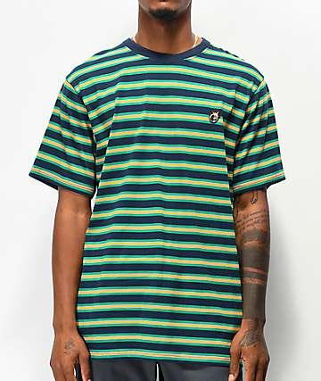The Hundreds Page Navy & Green Stripe Knit T-Shirt