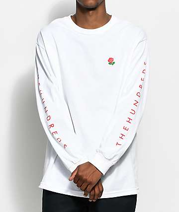 The Hundreds Rose Fill Slant White Long Sleeve T-Shirt