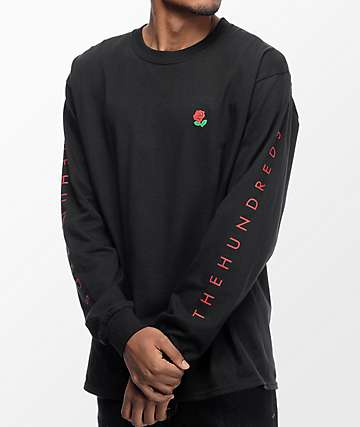 The Hundreds Rose Fill Slant camiseta negra de manga larga
