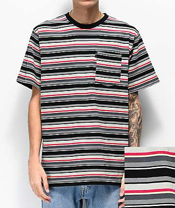 The Hundreds Varden Black & Grey Striped Knit T-Shirt
