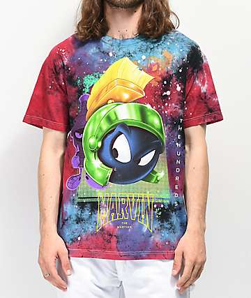The Hundreds x Marvin The Martian Space Blue, Red & Black Tie Dye T-Shirt
