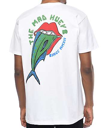 The Mad Hueys Fish Lips White T-Shirt