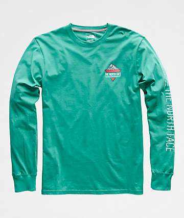 The North Face 90s Script Porcelain Green Long Sleeve T-Shirt