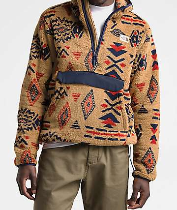 The North Face Campshire Cedar Brown & California Geo Print Fleece Anorak Jacket