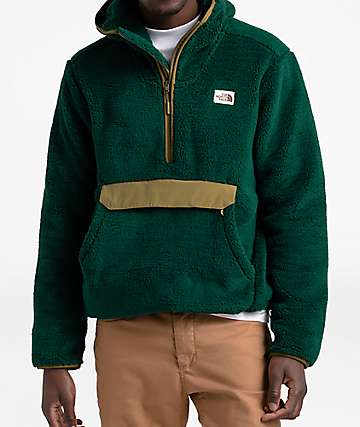 The North Face Campshire Green & Khaki Fleece Anorak Jacket
