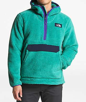 The North Face Campshire Green & Navy Anorak Fleece Hoodie