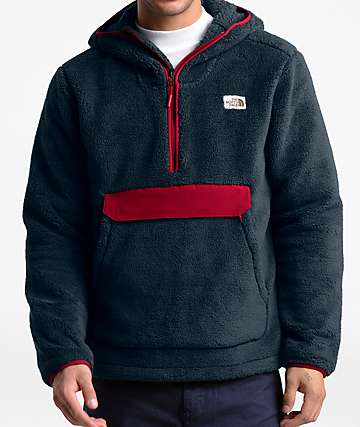 The North Face Campshire Urban Navy & Red Fleece Anorak Jacket