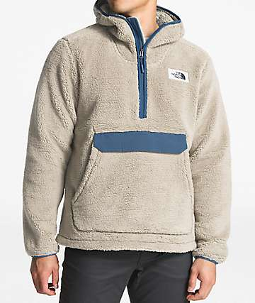The North Face Campshire White & Blue Anorak Fleece Hoodie