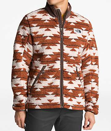 The North Face Campshire White & Brown Anorak Fleece Jacket
