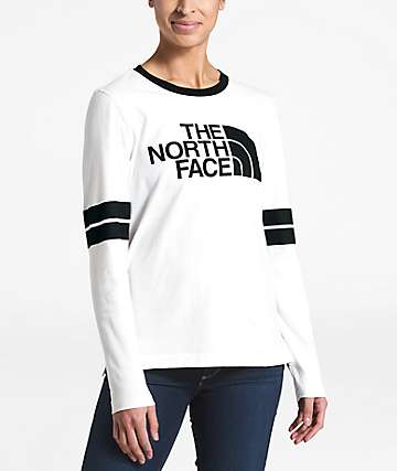 The North Face Collegiate White & Black Long Sleeve T-Shirt