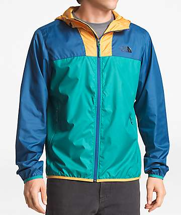 The North Face Cyclone 2 Teal, Blue & Yellow Windbreaker Jacket