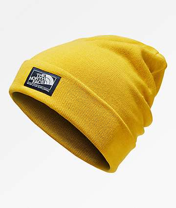 The North Face Doc Worker Leopard Yellow Beanie