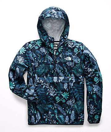 The North Face Fanorak Navy Woodland Floral Anorak Jacket