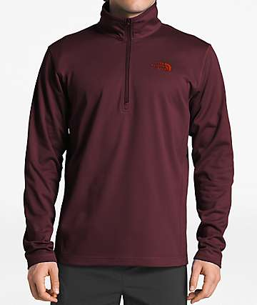 The North Face Glacier Quarter Zip Burgundy Tech Fleece Sweatshirt