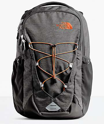 The North Face Jester Dark Grey Heather & Orange Backpack