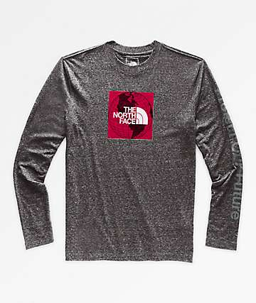The North Face Recycled Red Box Grey Long Sleeve T-Shirt
