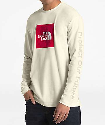 The North Face Recycled Red Box White Long Sleeve T-Shirt