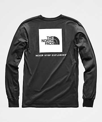 The North Face Red Box Black & White Long Sleeve T-Shirt