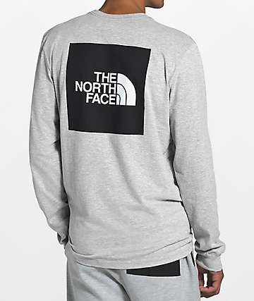 The North Face Red Box Grey & Black Long Sleeve T-Shirt