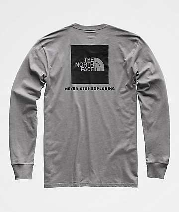 The North Face Red Box Grey Long Sleeve T-Shirt