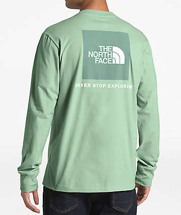 The North Face Red Box Mint Green Long Sleeve T-Shirt