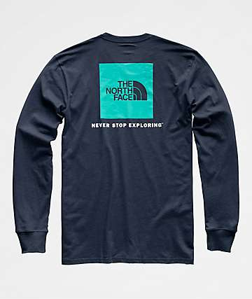 The North Face Red Box Navy Long Sleeve T-Shirt