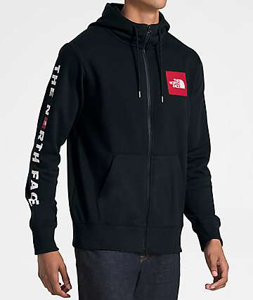The North Face Red Box Patch Black & Red Zip Up Hoodie